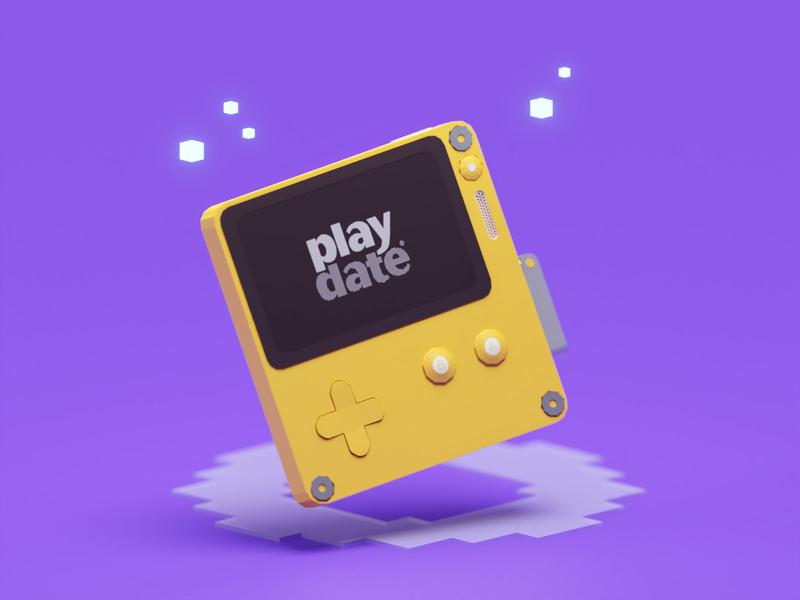 Quick Playdate Render gaming handheld console isometric b3d play date playdate blender