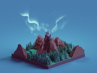 Low poly mountains + northern lights