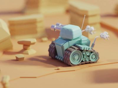 Finn the Tank (animated) motion cute tank animation b3d 3d low poly isometric blender