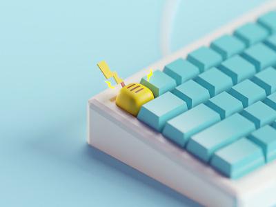 Pikachu keycap blender3d lowpoly keyboard keycap isometric b3d blender