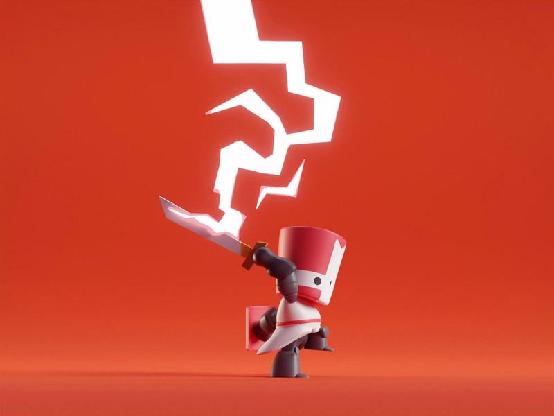 Red Knight cute red lightning knight castle crashers isometric blender 3d b3d blender