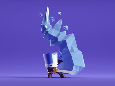 Blue Knight ice blue cute adventure knights castle crashers b3d blender