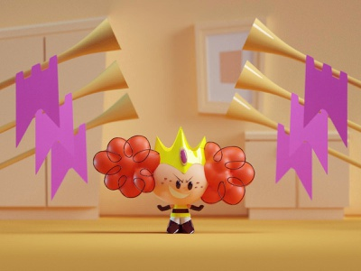 Princess Morebucks yellow illustration render cartoon network lair villain powerpuff girls princess morebucks b3d blender