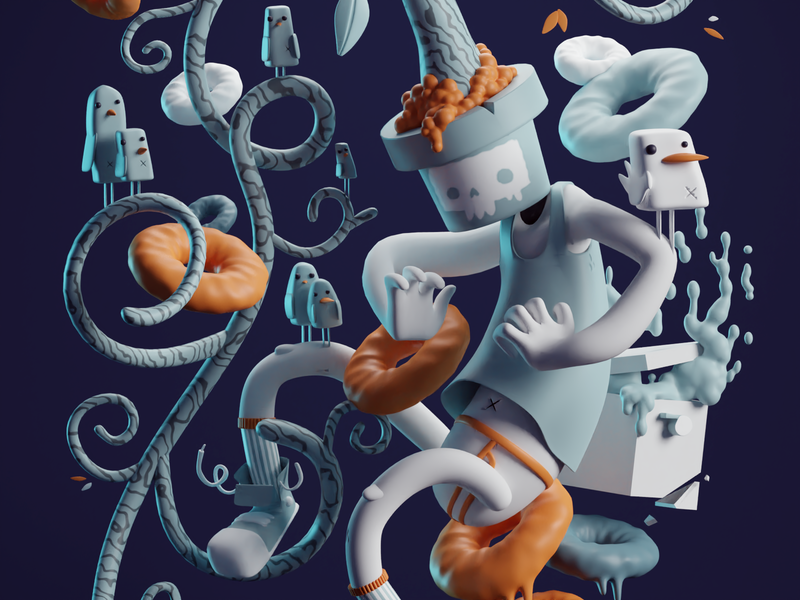 Where to go Art Print (3D version) modeling stylized tree donut skull where to go illustration render b3d blender