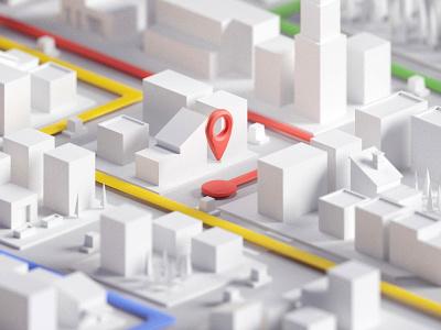 City Map Concept navigation city blocking concept maps map b3d blender