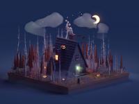 Halloween Autumn Cabin