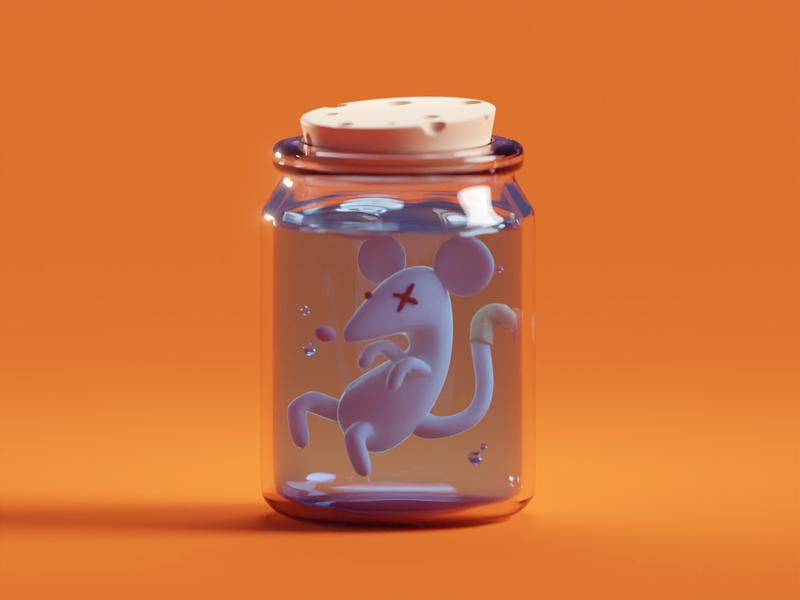 Rat in a Jar b3d blender fun spooky render illustration jar