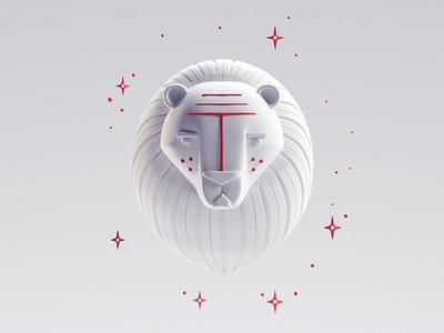 Leo icon render illustration lion leo b3d blender