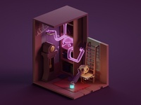 Low poly Haunted Library