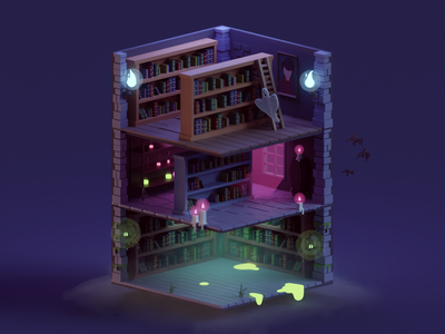 Haunted Library (WIP) swamp witch potion spooky ghosts haunted library low poly isometric b3d blender