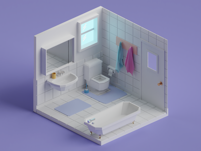 Low poly bathroom