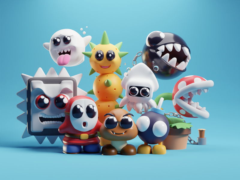 Mario Foes characters render illustration chibbi cute villains goomba mario b3d blender