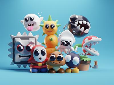 Mario Foes characters render illustration chibbi cute villains goomba mario b3d blender
