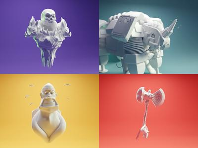 Sculpt January 2020 1-4 weapon machine character skull sculpting sculpt blender