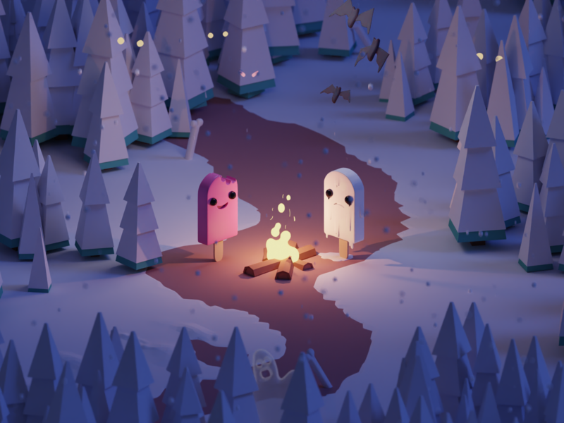 Super Happy Time Death Machine fire illustration forest ghosts graveyard ice cream isometric b3d blender