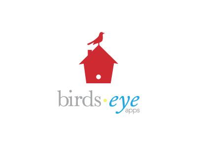 Birds Eye Apps Logo birds eye bird house logo red grey yellow blue