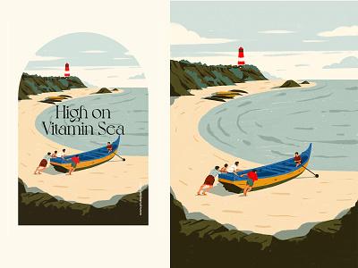 High On Vitamin Sea procreate cliffs sea fishermen clothing illustration design art