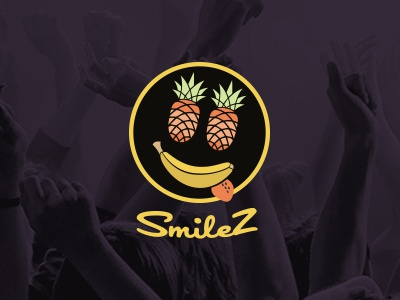 Logo - Smilez events logo smile envent fruits banana pineapple yellow party funny