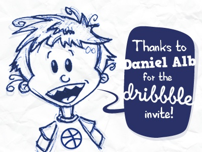 A sketch to say «thank you» ! thanks dribbble sketch illustration kid draft first shot