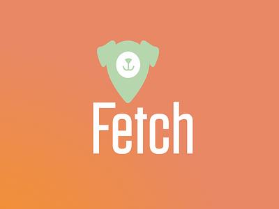 Fetch Logo orange green mark lockup logo design dog fetch