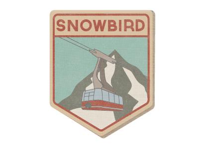 Vintage Patch Work ski resort tram mountain patch winter snowboard ski big red illustrator snowbird