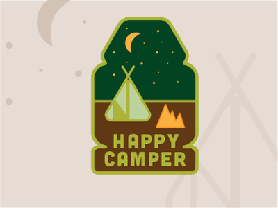 Happy Camper campfire fire stars moon night backpacking camping patches happy camper