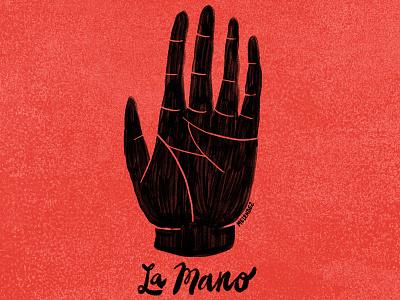 La Mano lettering type mano hand illustration