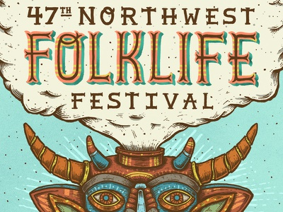 Folklife Festival festival music seattle northwest mexico mask folklife illustration type