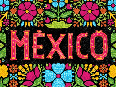 Mexico oaxaca flowers typography lettering handlettering type mexico