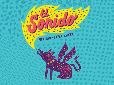 El Sonido mexico beer branding alebrije lager beer seattle lettering logo typography illustration handlettering type