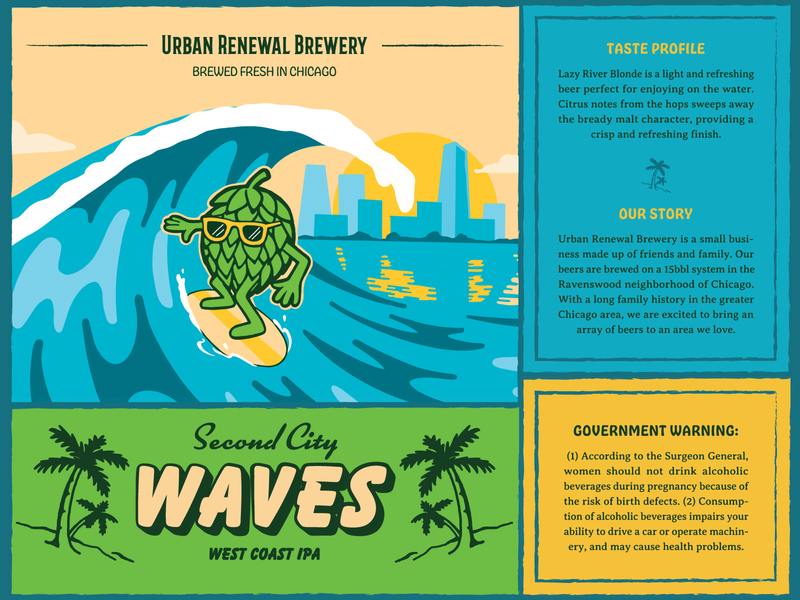 Second City Waves palm tree beer label surf hop packaging beer illustration
