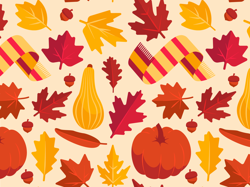 Fall Pattern pattern fall vector illustration autumn pumpkin acorn scarf leaf