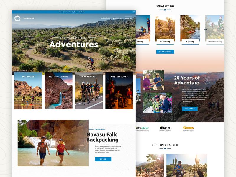 AOA Website Design adventure travel website design responsive design layout ui homepage design 829 creative