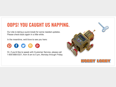 Hobbylobby 404 page