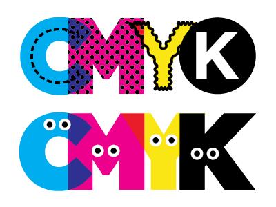 CMYK subway pattern halftone characters googlyeeyes doodle bright bold mixcolors cmyk type