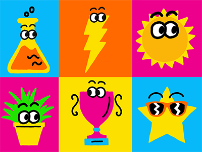 Nickelodeon May Prime Icons icons plants star sun sunglasses children kids colorful eyes characters nickelodeon design
