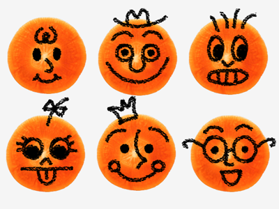 Carrot faces cartoon drawing 2d googly silly faces handdrawn design illustration doodle