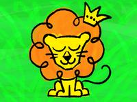 Lion cat jungle zoo kids animals preschool cartoon illustration lion