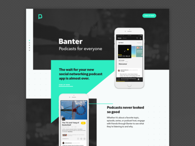 Banter Landing Page Concept podcasts triangle editorial beta landing page
