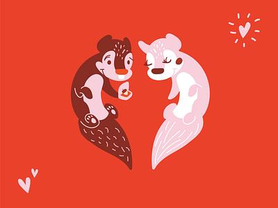 Tie the Nut Valentines Day Illustration engagement nut valentines day card valentines day squirrel illustration