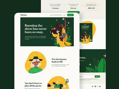 Clerksy HR Start Up Website minimal interface design studio web design website website design marketing dailyui ux ui branding illustration