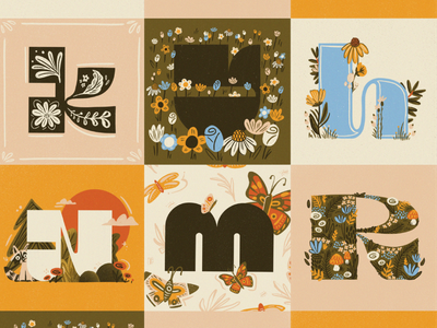 Letters of the Alphabet vintage hand lettering letters type art nature illustration floral design letter mark texture brushes lettering typedesign 36daysoftype typography hand drawn illustration