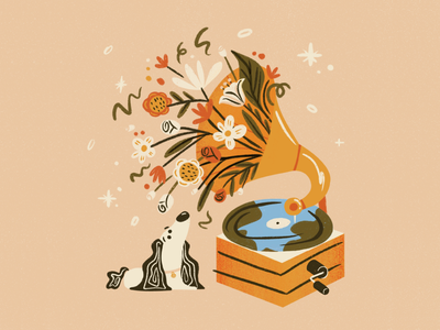 Our Planet Week 2021: Voice floral art dog illustration record music flat spot illustration vector voice earth environment animals illustrated hand drawn illustration