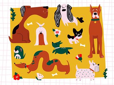 Illustration Guide Cover Illustration hand drawn texture dogs booklet branding vector illustration