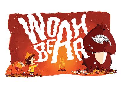 Woah Bear Peanuts Poster camping snoopy peanuts charlie brown poster illustration