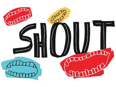 Shout handlettering typography design lettering illustration