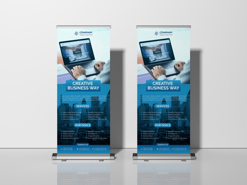 Creative Business  Roll Up Banner minimal flat vector banner design roll up banner roll up banner design pop up banner retractable banner x stand standee signage standee modern banner signage banner business roll up banner