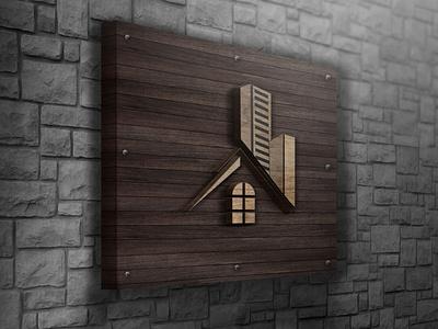 Wooden Logo HUT MockUp real estate logo unique builder construction logo mockup psd modern design minimal 2021 design illustrator graphic design