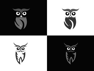 Owl minimal design (2 concept) branding design illustration logo icon modern design minimal 2021 design illustrator graphic design