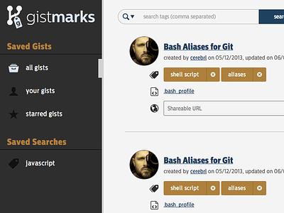 Snapshot of Gistmarks Prototype v2 prototype ui design css html